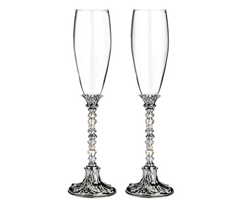 Lillian Rose Silver Crystal Glass Beaded Toasting Glasses