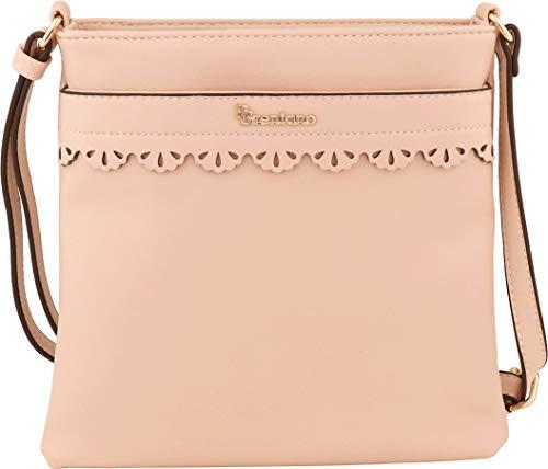 B BRENTANO Vegan Medium Crossbody Handbag Purse (Pink.)