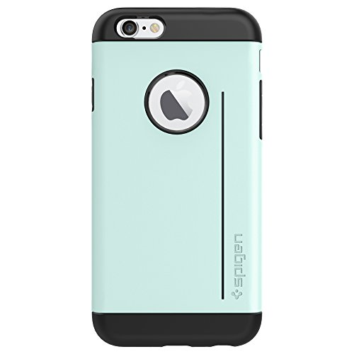 """Spigen Schutzhülle iPhone 6S und 6 (4,7"""") Hülle SLIM ARMOR S [Air cushion-Kantenschutz] - Tasche iPhone 6 (4,7""""), Kick-Stand Aufstellfunktion - mint [Mint - SGP10960]"""