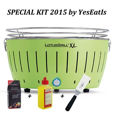 Lotusgrill LOTUGRILL XL Special Kit 2015 by YesEatIs - Smokeless Charcoal BBQ + 1Kg of Charcoal + 1 Safety Fuel Gel + 1 Grill Spatula - GREEN XL