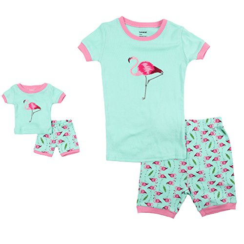 Leveret Shorts Matching Doll & Girl Flamingo 2 Piece Pajama Set 100% Cotton Size 6 (Dolly And Me Pajamas)