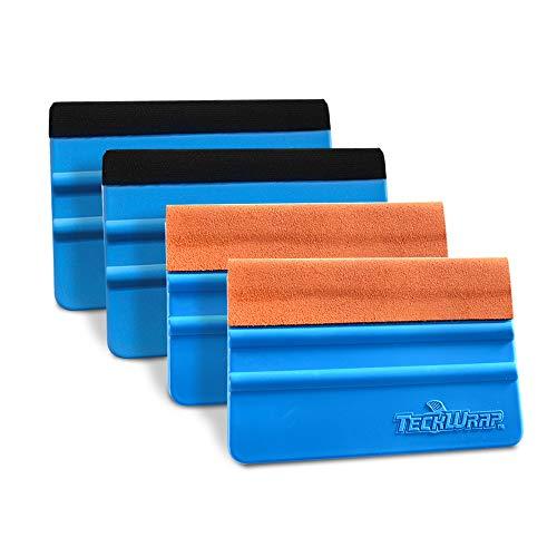 (TECKWRAP Black & Orange Felt Edge Decal Squeegee 4 Inch Wrapping Scraper Squeegee Tool for Car Vehicle Window Film Vinyl 2 Pairs)