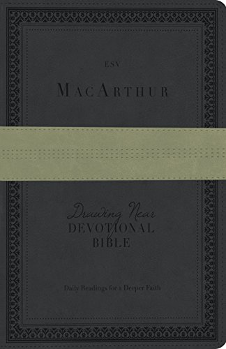 ESV MacArthur Drawing Near Devotional Bible (TruTone, Charcoal/Sage, Trail Design)