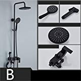 UNIQUE-F Shower Set Matte Black Antique Round Rain Head Handheld Nozzle Silicone Soft Head is Not Easy to Breed Bacteria Rust Wear Durable