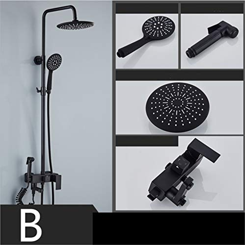 UNIQUE-F Shower Set Matte Black Antique Round Rain Head Handheld Nozzle Silicone Soft Head is Not Easy to Breed Bacteria Rust Wear Durable by UNIQUE-F (Image #5)