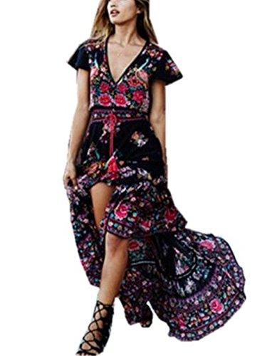 aimur-women-bohemian-v-neck-retro-printed-ethnic-style-summer-shift-dress-black