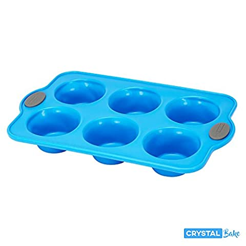 Crystal Bake SteelRim Silicone Muffin & Cupcake Baking Pan - 6 Cup - Blue (Jumbo Crystal Rings)