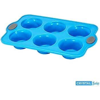 Crystal Bake SteelRim Silicone Muffin & Cupcake Baking Pan - 6 Cup - Blue