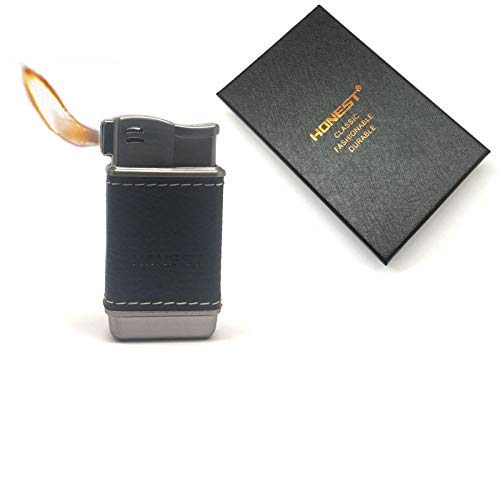Honest Pipe Lighter Soft Flame Refillable Butane Lighters Czech Pipe Tools (Titanium+Black Leather)