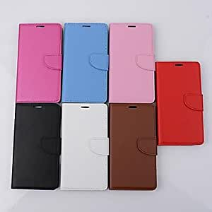 LHY Solid Color Card Wallet Buckle Genuine Leather Cover With for Samsung Galaxy S5/I9600 Case (Assorted Color) , Rose