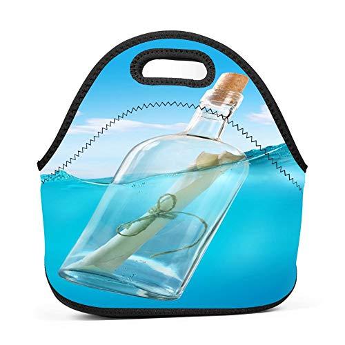 f5846c2f8042 dreambest Ocean Drift Bottle Insulated Neoprene Lunch Bag for Unisex Lunch  Bag Handbag for Work and School