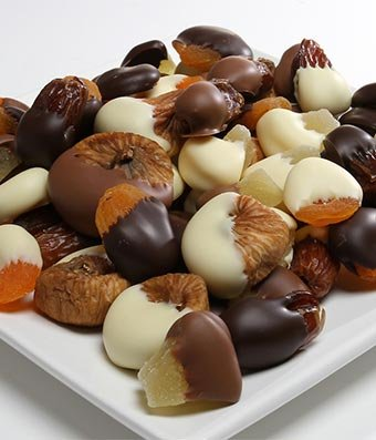 Gift - Belgian Chocolate Covered Dried Fruits ( pineapples, apricots, dates and figs) - 1 LB