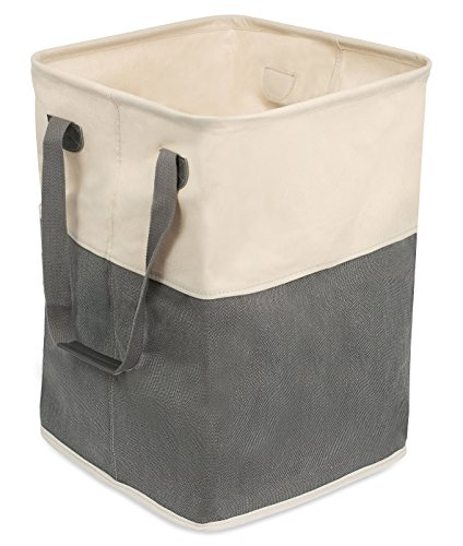 Hamper Clothes Canvas - BirdRock Home Square Cloth Laundry Hamper with Handles | Dirty Clothes Sorter | Easy Storage | Foldable | Grey and White Canvas