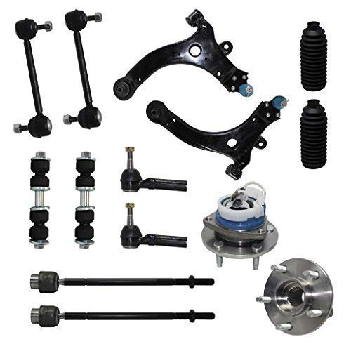 Detroit Axle - New Complete 14-Piece Front Suspension Kit - 10-Year Warranty- Front: 2 Wheel Bearings, 2 Control Arms & Ball Joints, 4 Tie Rod Ends, 4 Sway Bar Links, 2 Tie Rod Boots…