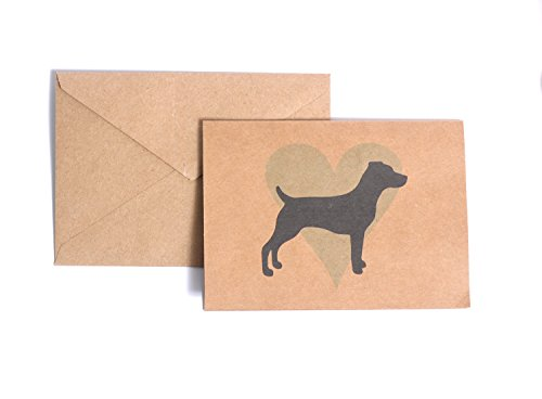 Jack Russell Terrier Blue Heart Note Card Set