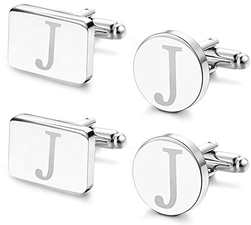 FIBO STEEL 2 Pairs Classic Engraved Initial Cufflinks for Men Alphabet Letter Cufflinks Set Wedding J