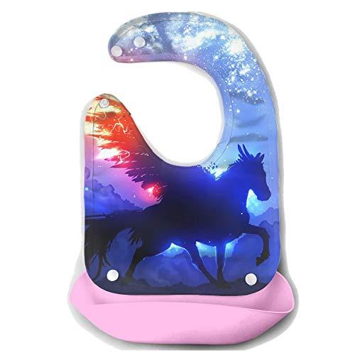 Waterproof Baby Super Bib Feeding Roll-up Bibs Unicorn Wing Fire Silicone Bib For Babies&Toddlers -