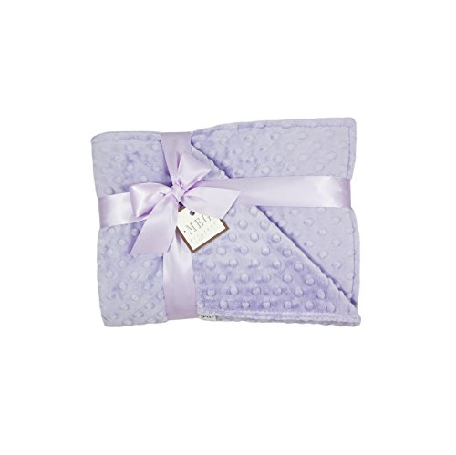 MEG Original Lavender Minky Dot Baby Girl/Toddler Crib Blanket - Bedding Crib Minky Dot
