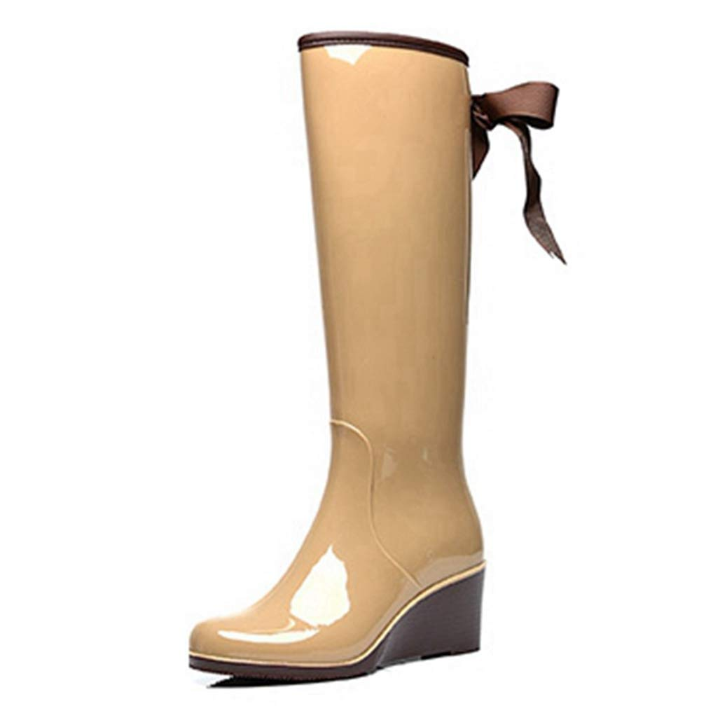 Beige Hoxekle Woman Knee High Boots Slip On Wedge Mid Heel Back Bows Waterproof Rainboots Fashion Cool Winter Long Boots