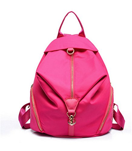 Meaeo Señoras Y Hombros Bolsa Bolso De Mujer De Tela Oxford Edición Coreana Femenina Fresca Pequeña Mochila De Viaje Bolso,Violeta Rose Red