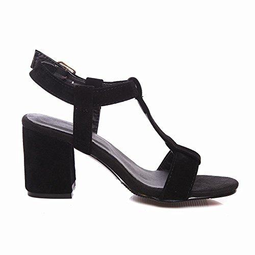 Fascino Del Piede Delle Donne T Cinturino Tacco Grosso Open Toe Sandalo Nero (pelle Scamosciata)