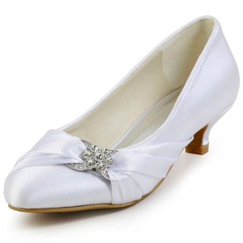 Chaussures Mariee a Escarpins Blanc talon Enfiler EP2006L Plisse Boucle Elegantpark Bout De Bas Strass Round Satin Femme zwURFqZ