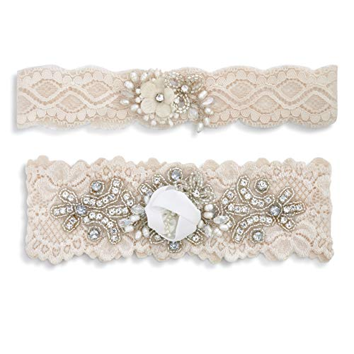 Vintage Lace Soft Blush One Size Beaded Polyester Keepsake Garter Belt Assorted Set of 2 ()
