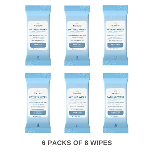No Rinse Bathing Wipes (6-Pack) | 48 Microwavable Adult Wash Cloths with Aloe Vera and Vitamin E - Rinse Free Cleansing Bath Wipes - Latex, Lanolin, and Alcohol Free - 6 Packs of 8 Wipes by Nurture (Image #2)
