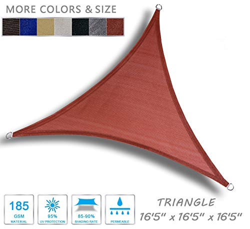 LOVE STORY 16'5'' x 16'5'' x 16'5'' Triangle Terra Sun Shade Sail Canopy UV Block Awning for Outdoor Patio Garden Backyard