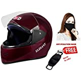 JMD Elegant Full Face Helmet (WINE RED, L) with FREE Anti Pollution Mask