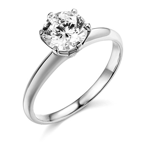 TWJC 14k White Gold Solid Wedding Engagement Ring - Size - Engagement Gold Setting White