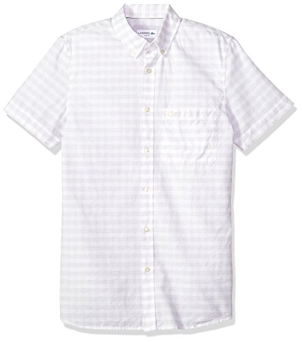 Lacoste Men's Short Sleeve Cotten/Linen Checked Button Down Collar Slim Woven Shirt, CH5008, French Vanilla Cream, Large -