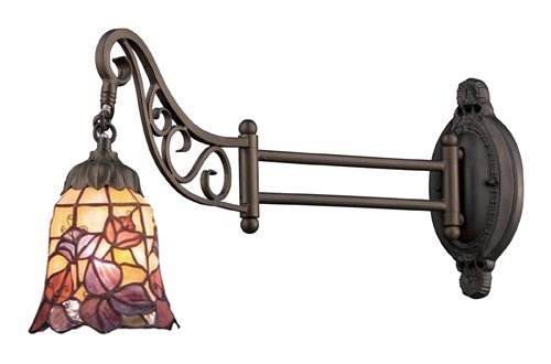 Elk 079-Tb-17 Floral Garden Mix-N-Match 1-Light Swing Arm Sconce, 12-Inch, Tiffany Bronze by Elk
