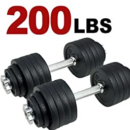 New 200lbs Total, one Pair of Adjustable Dumbbells Kits - 200 Lbs (100lbs x 2pc) + Free 5 Resistance Band Kit