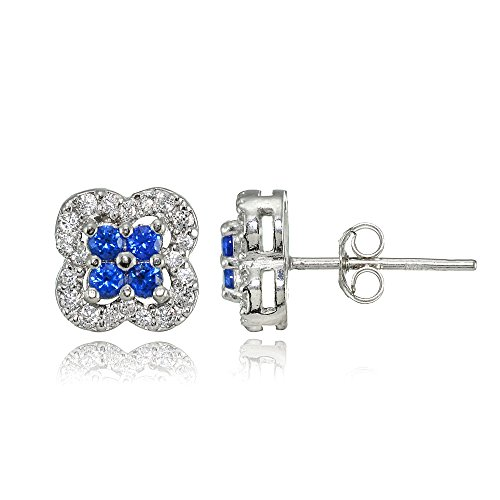Sterling Silver Created Sapphire & Cubic Zirconia Four Leaf Clover Stud Earrings