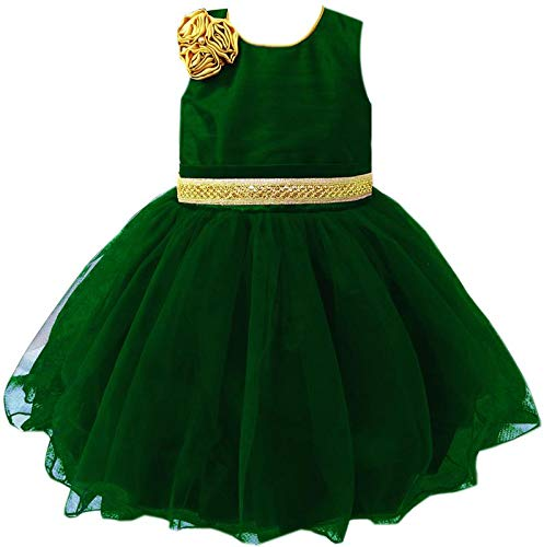 55ceda9f7f8 Stanwells kids Kids Green and Gold Partywear Festival Designer Frock for  Birthday Girl Specially Made Frock  Amazon.in  Clothing   Accessories