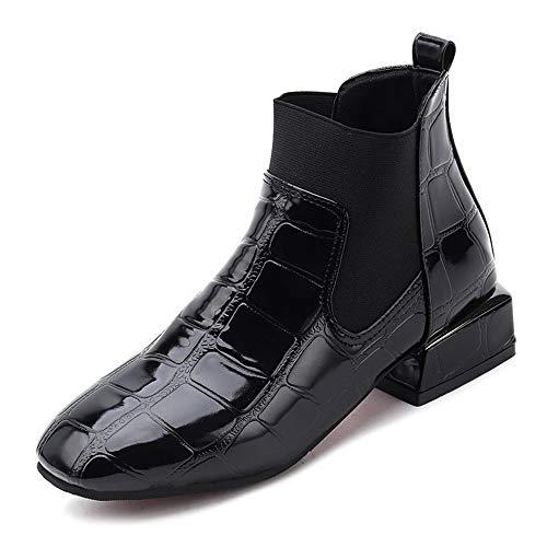 Kurze Low und Herbst Kopf Martin Stiefel Quadratisch Tube Platz Black Fashion Lederstiefeln Stiefel Winter Mit Damenstiefel Stiefel ptBqt