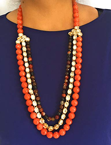 ndmade Multicolored Authentic Gold Plated Kundan Necklace with Natural Agate Beads. (Orange) ()