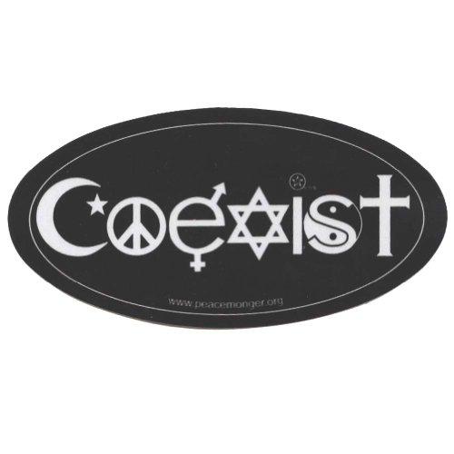 Coexist Symbols Original Reflective Oval Mini Bumper Sticker (Reflective Bumper Sticker)