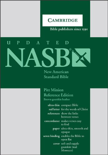 NASB Pitt Minion Reference Bible, Brown Goatskin Leather, Red-letter Text, NS446XR Brown Goatskin Leather -