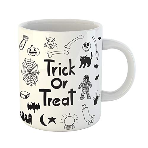Emvency Coffee Tea Mug Gift 11 Ounces Funny Ceramic Alphabets Halloween Trick Treat Black and White Doodle Bats Gifts For Family Friends Coworkers Boss Mug ()