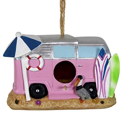 Exhart Pink Retro RV Bus Bird House - Quality Pink Vintage Bus Mini House for Birds with Rope - Hanging Retro Camper Birdhouse Decor - Best as Resin Outdoor Decor for Garden, Porch, and Yard, 8