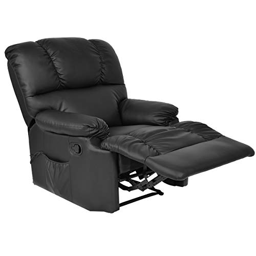 Massage Recliner Chair with Heat and Vibrating, Gentle shower Full Body Leather Massage Chair with Control Black Sofa Chair Recliner