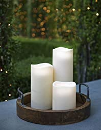 Everlasting Glow LED Indoor/Outdoor Candle, Timer, Bisque, 4.5\