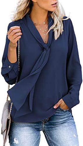 MLEBR Womens Long Sleeve V Neck Casual Chiffon Blouses Tops T Shirts