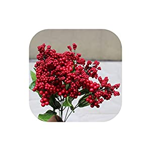 Fake Flower Fun-House Artificial Fake Berry Bouquet Multicolor Foam Simulation Decorativeflowers for Wedding Decor,Red,1 Pcs 86