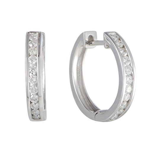 0.5 Carat (ctw) Round Diamond Hoop Earrings; 1/2 CT White Diamonds (G Color, SI1-SI2 Clarity) in 0.62'' 14K Gold Hoops (white-gold) by Luxury Bazaar