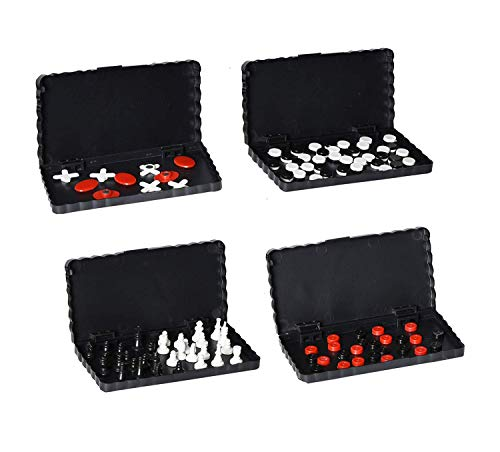 Point Games Travel Board Game Set Bundle Pack of 4 Classic Magnetic Games for Kids Includes Individual Boards & Pieces f