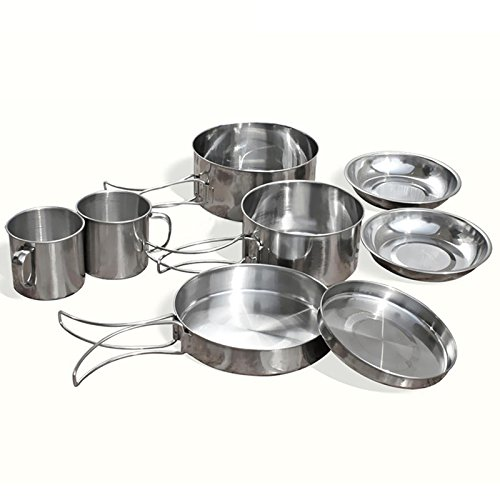 SODIAL 8Pcs/set Stainless Steel Outdoor Picnic Pot Pan Kit Camping Hiking Cookware Plate/Bowl/Cup/Pan Cover Cooking Set by SODIAL