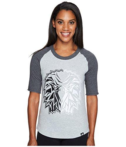Large Mascot T-shirt Adidas (adidas Women's Baseball Mascot Graphic Tee, Medium Grey Heather/Dark Grey Heather/Bird, Medium)